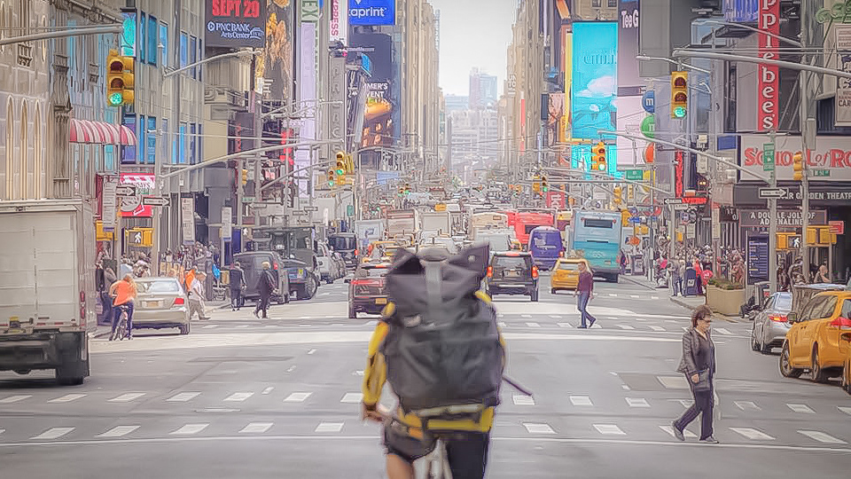 the biker and the jungle (in times square, new york city)
