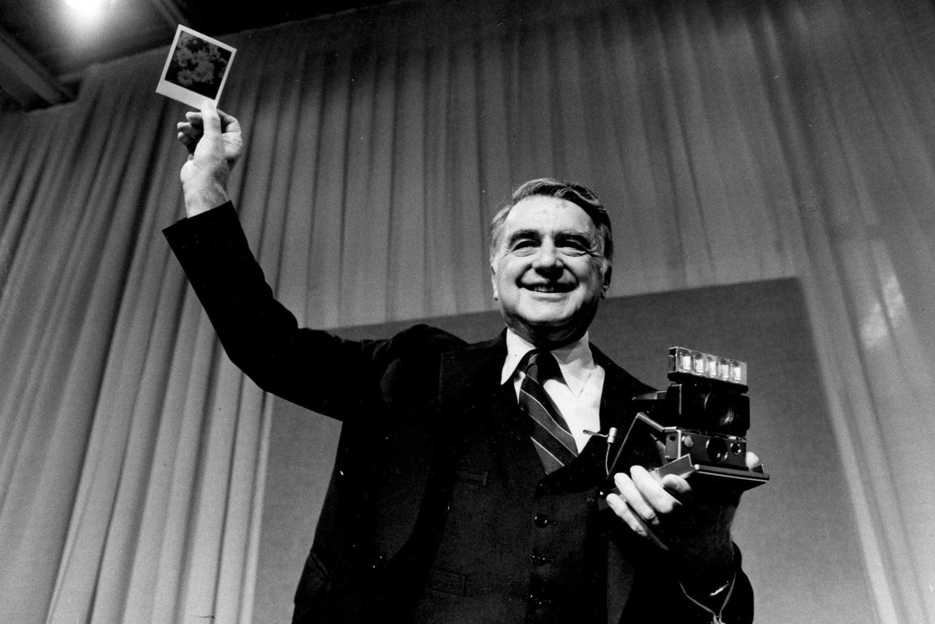 Edwin Land at the release of the cult-classic SX-70, one of the marvels of Polaroid engineering.