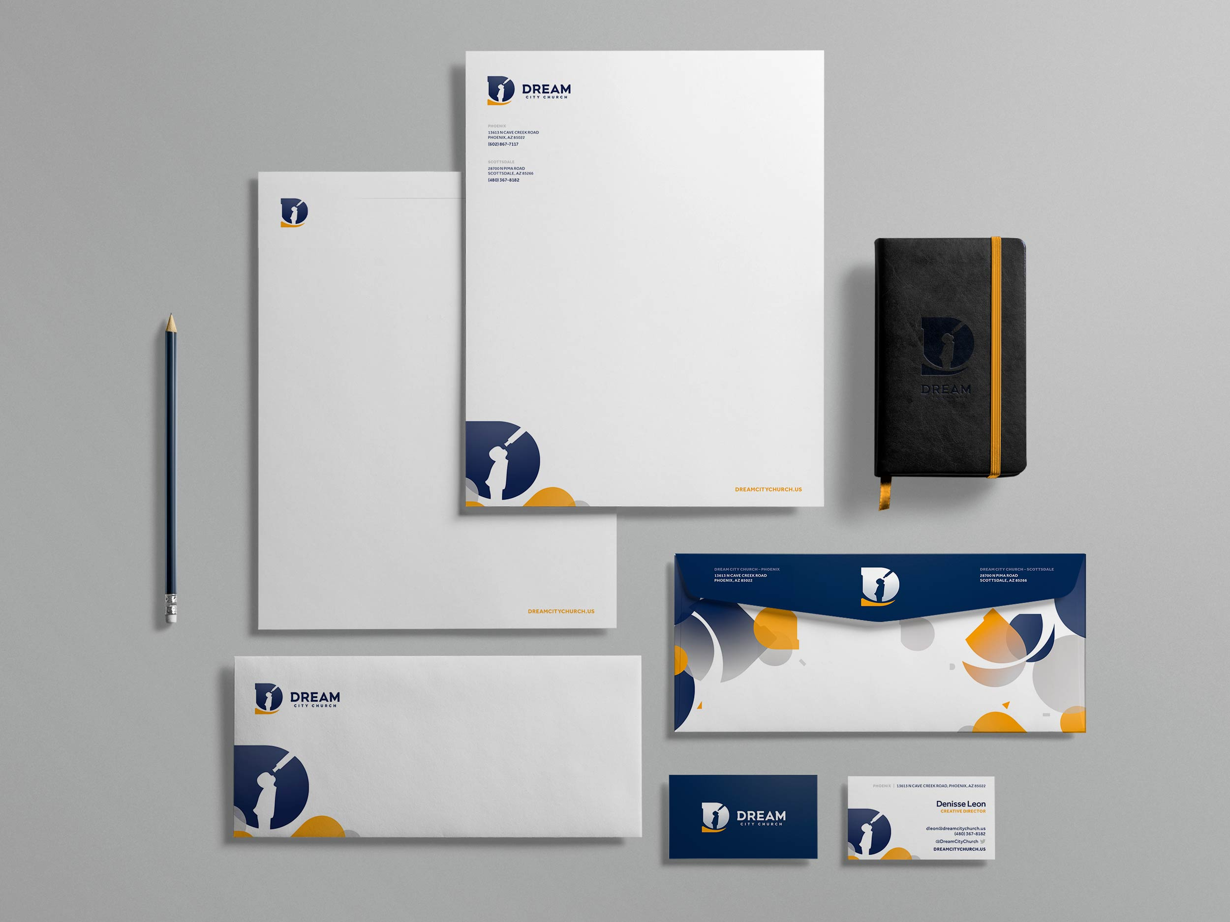 Full stationery set for Dream City Church. Image copyright Jeff Miller, HellothisisJeff Design LLC
