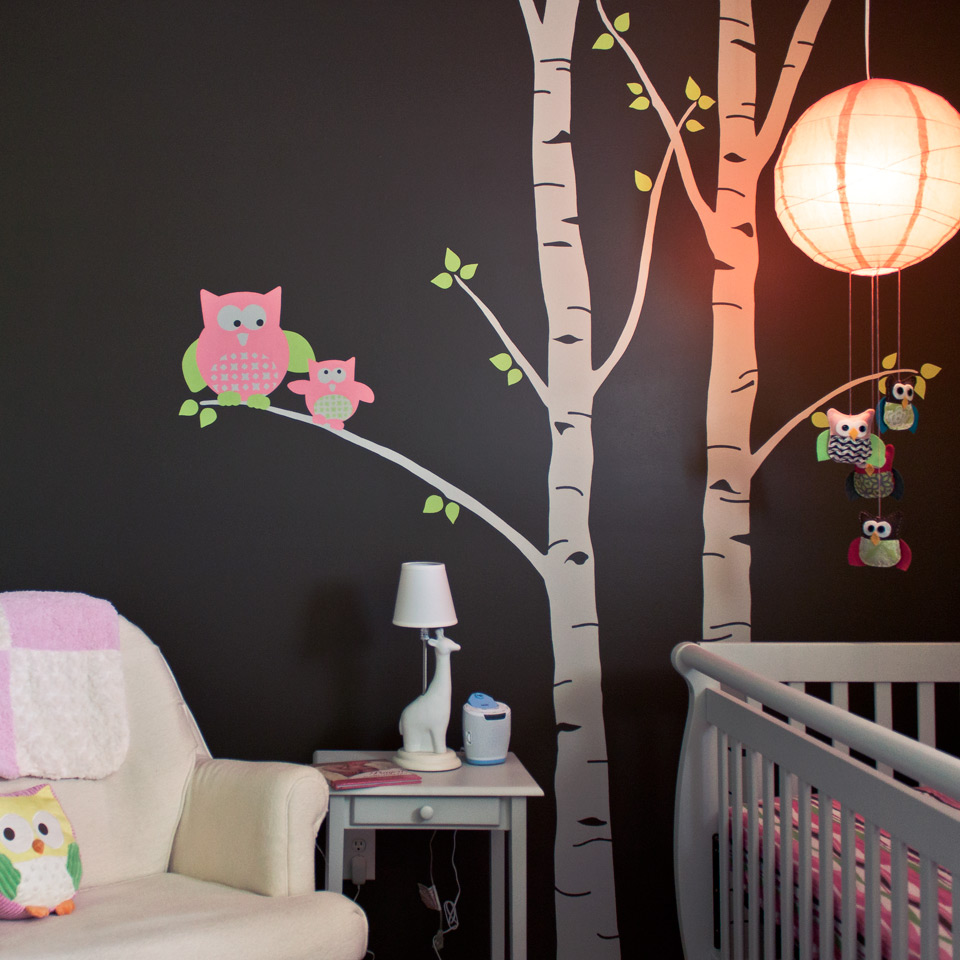 Birch tree and owl nursery mural. Image copyright Jeff Miller, HellothisisJeff Design LLC