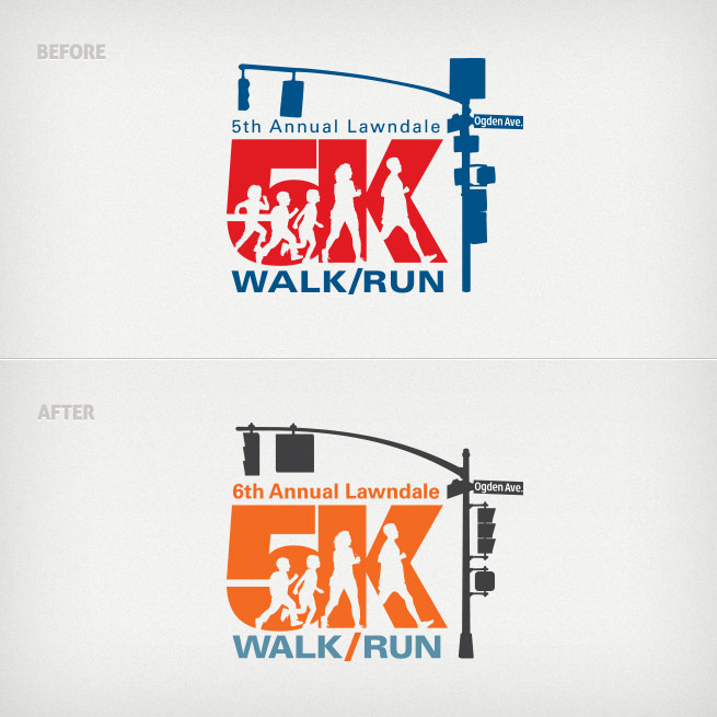 Updates made to the 6th Annual Lawndale 5K Walk/Run logo.