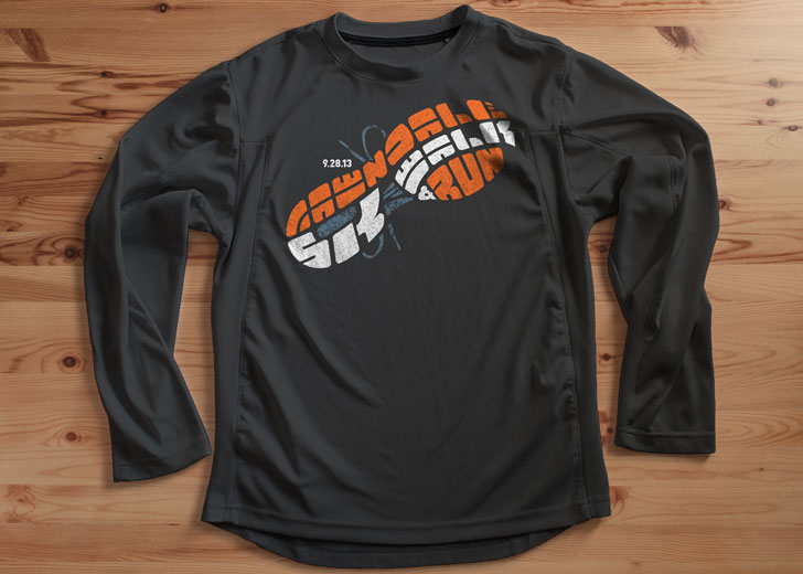 5K tech shirt mockup. Image copyright Jeff Miller, HellothisisJeff Design LLC