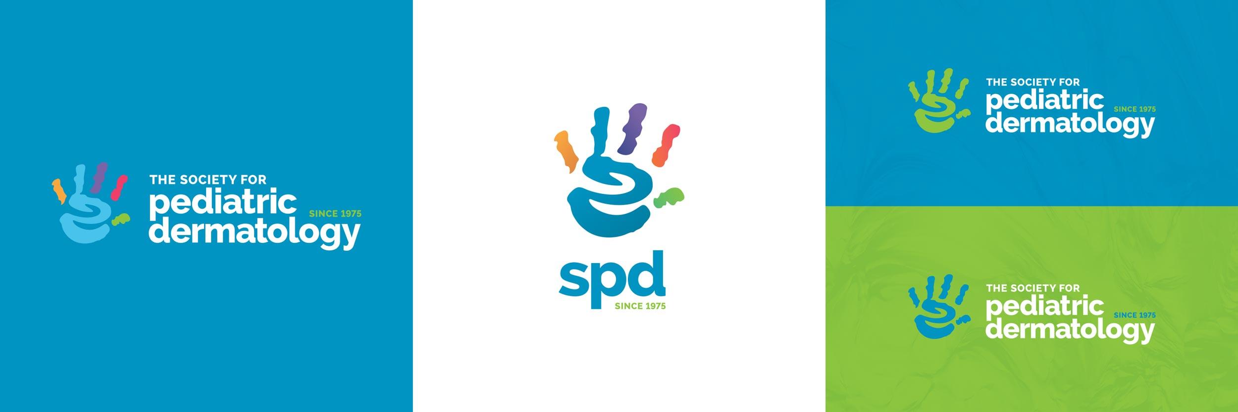 Reversed and abbreviated brandmarks for The Society of Pediatric Dermatology.Image copyright Jeff Miller, HellothisisJeff Design LLC