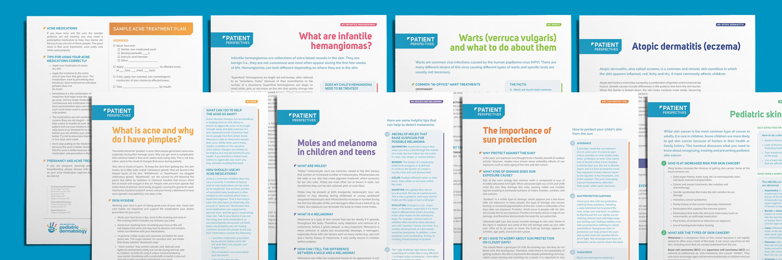 SPD Patient handouts appearing regularly in the journal, Pediatric Dermatology .Image copyright Jeff Miller, HellothisisJeff Design LLC