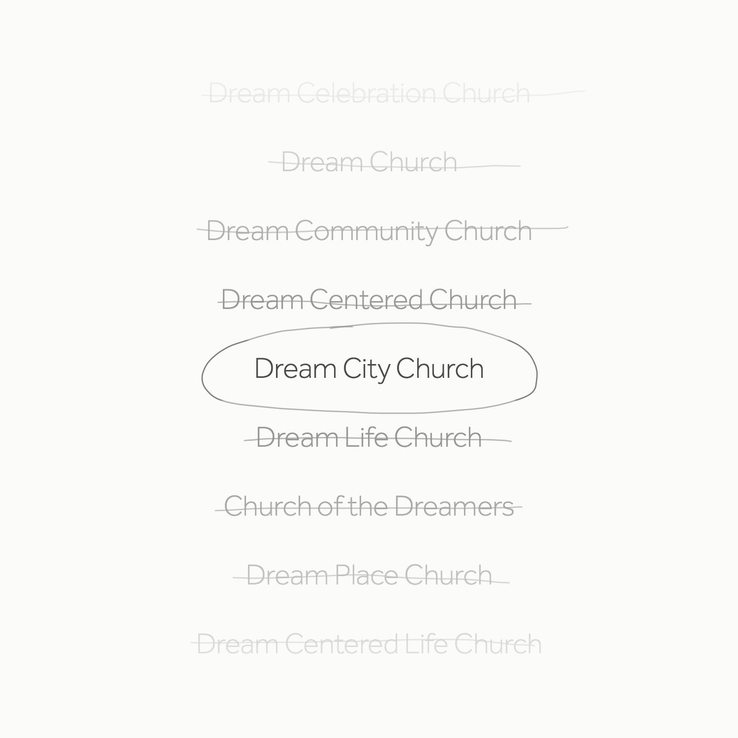 In the early stages of the project, HellothisisJeff helped church leaders decide on the new name by creating a matrix that presented all options with pros and cons for each.