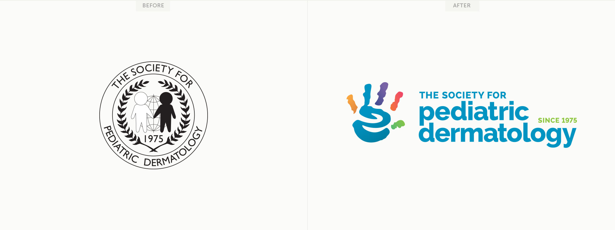 Before and after for The Society of Pediatric Dermatology's new logo design.Image copyright Jeff Miller, HellothisisJeff Design LLC