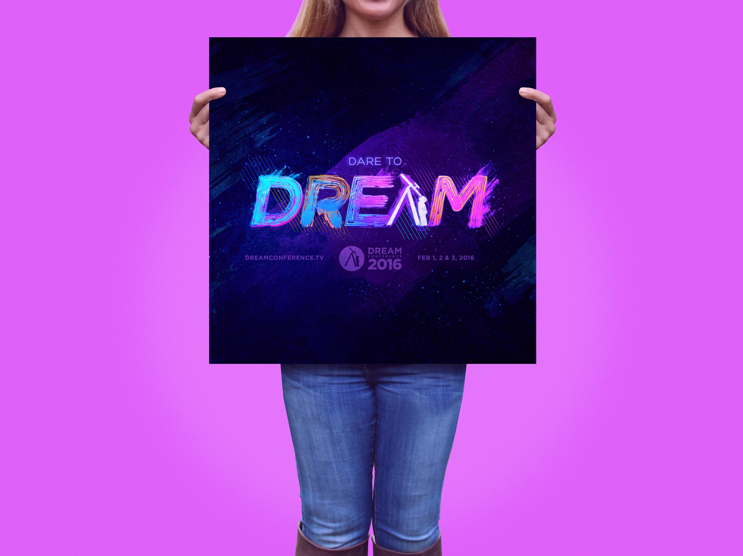 """Concept for the 2016 Dream Conference """"Dare to Dream"""" theme design.Image copyright Jeff Miller, HellothisisJeff Design LLC"""