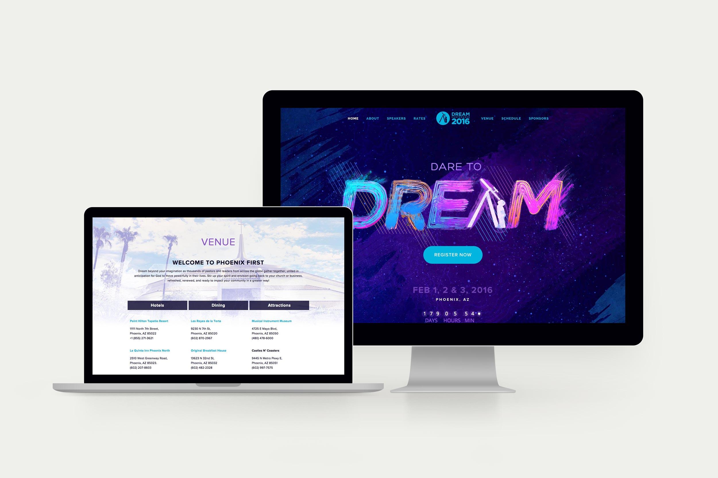 Website design for the 2016 Dream Conference site.Image copyright Jeff Miller, HellothisisJeff Design LLC
