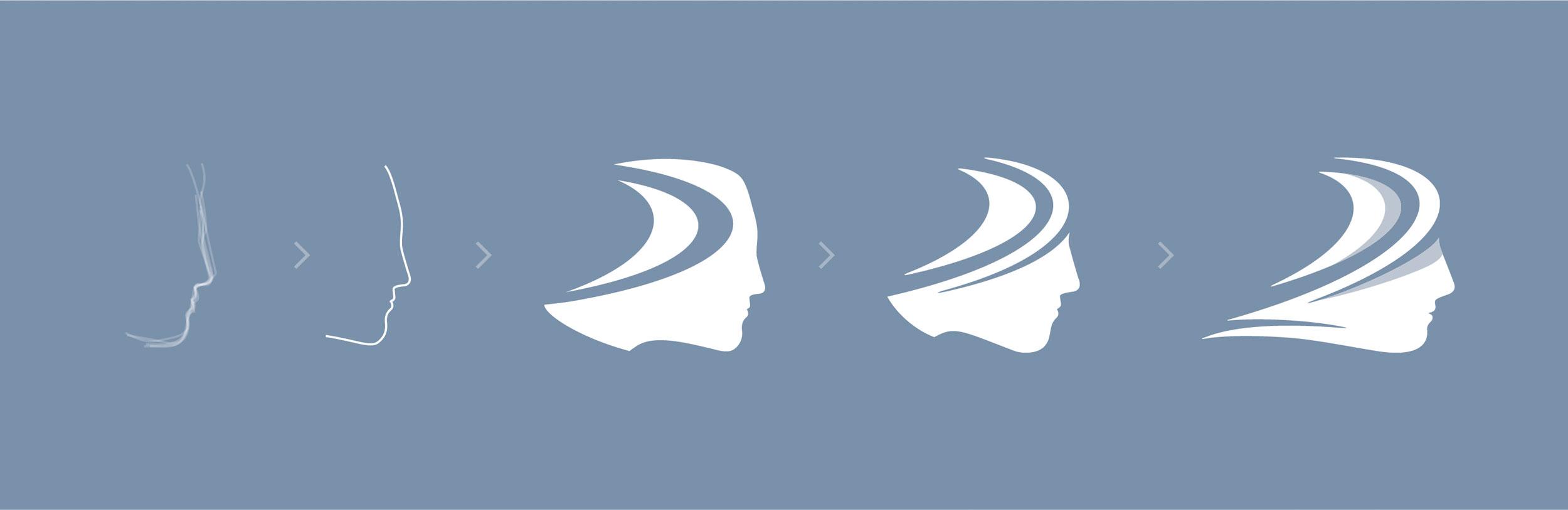 Logo construction and evolution for the Association for Applied Sport Psychology logo mark.Image copyright Jeff Miller, HellothisisJeff Design LLC