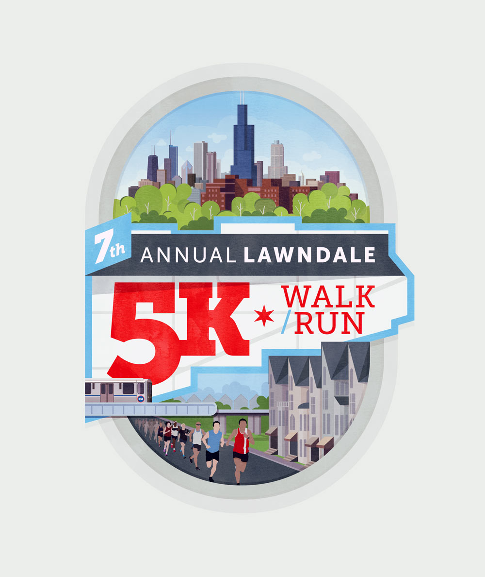 2014 Lawndale 5K thematic artwork. Image copyright Jeff Miller, HellothisisJeff Design LLC