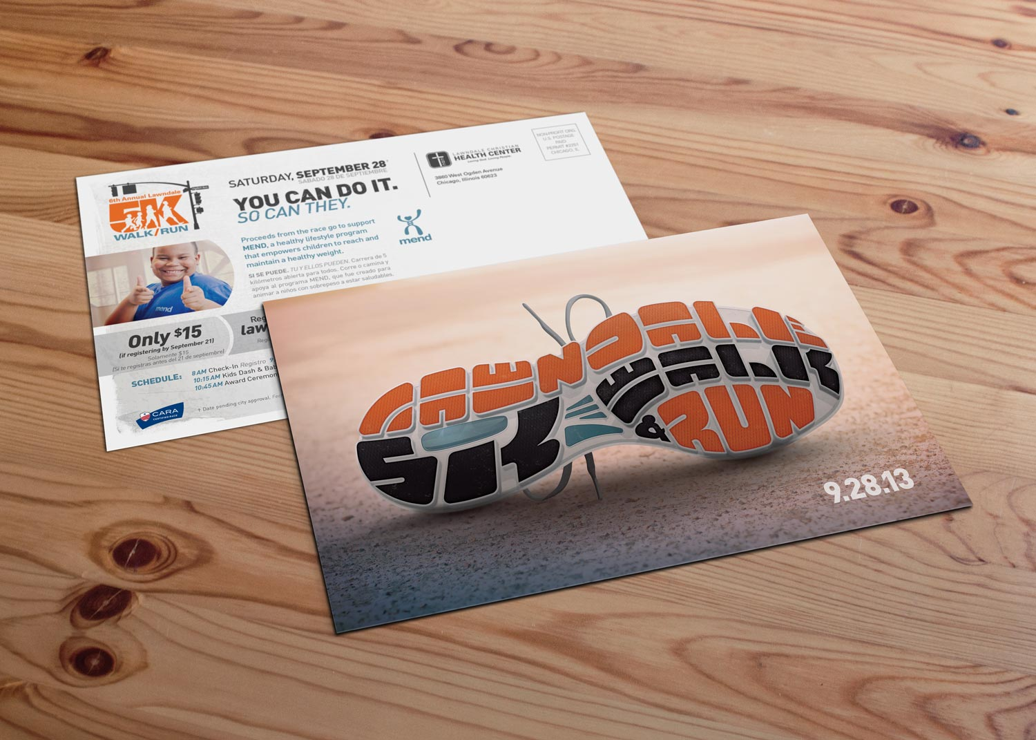 - For the direct mail postcard, I created a photorealistic version of the illustration to raise the wow factor. I reserved the flat version of the design for the posters and tech shirt to give them a cleaner look.