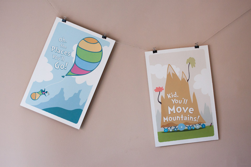 Oh, the Places You'll Go and Kid, You'll Move Mountains original posters by Jeff Miller. ©2012 Jeff Miller.