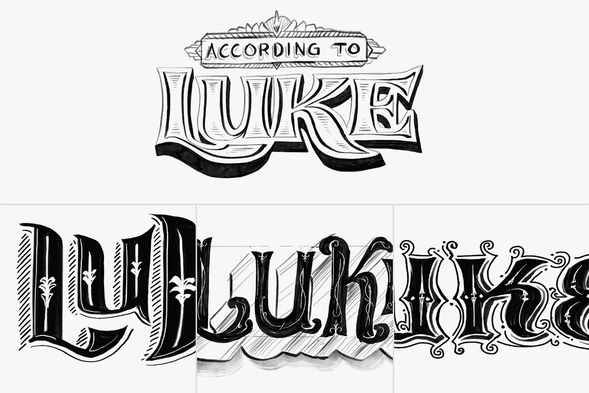 Luke title sketches. Image copyright Jeff Miller, HellothisisJeff Design LLC