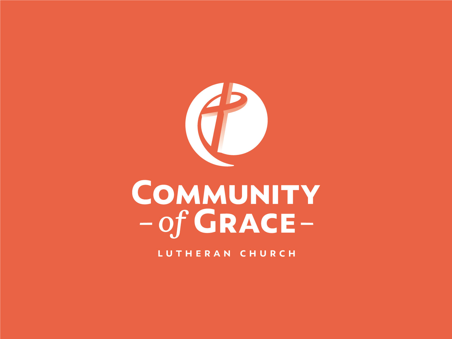 Community of Grace alternate stacked brandmark reversed on orange