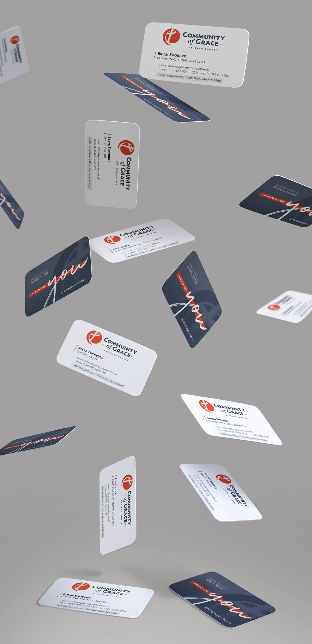 Community of Grace business card design by Jeff Miller, HellothisisJeff Design