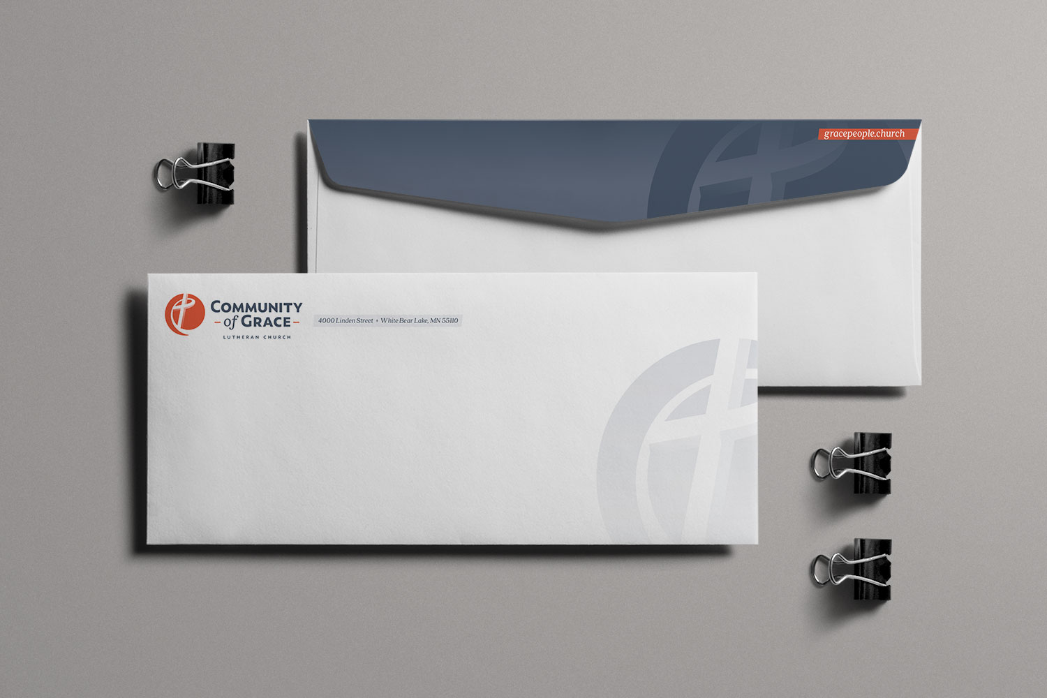 Community of Grace business envelope design by Jeff Miller, HellothisisJeff Design