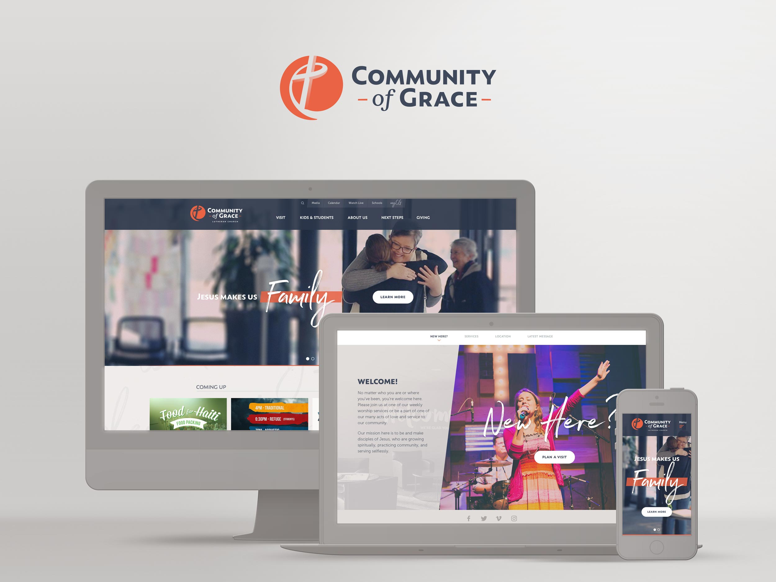 CommunityofGrace.church responsive website design by Jeff Miller, HellothisisJeff Design