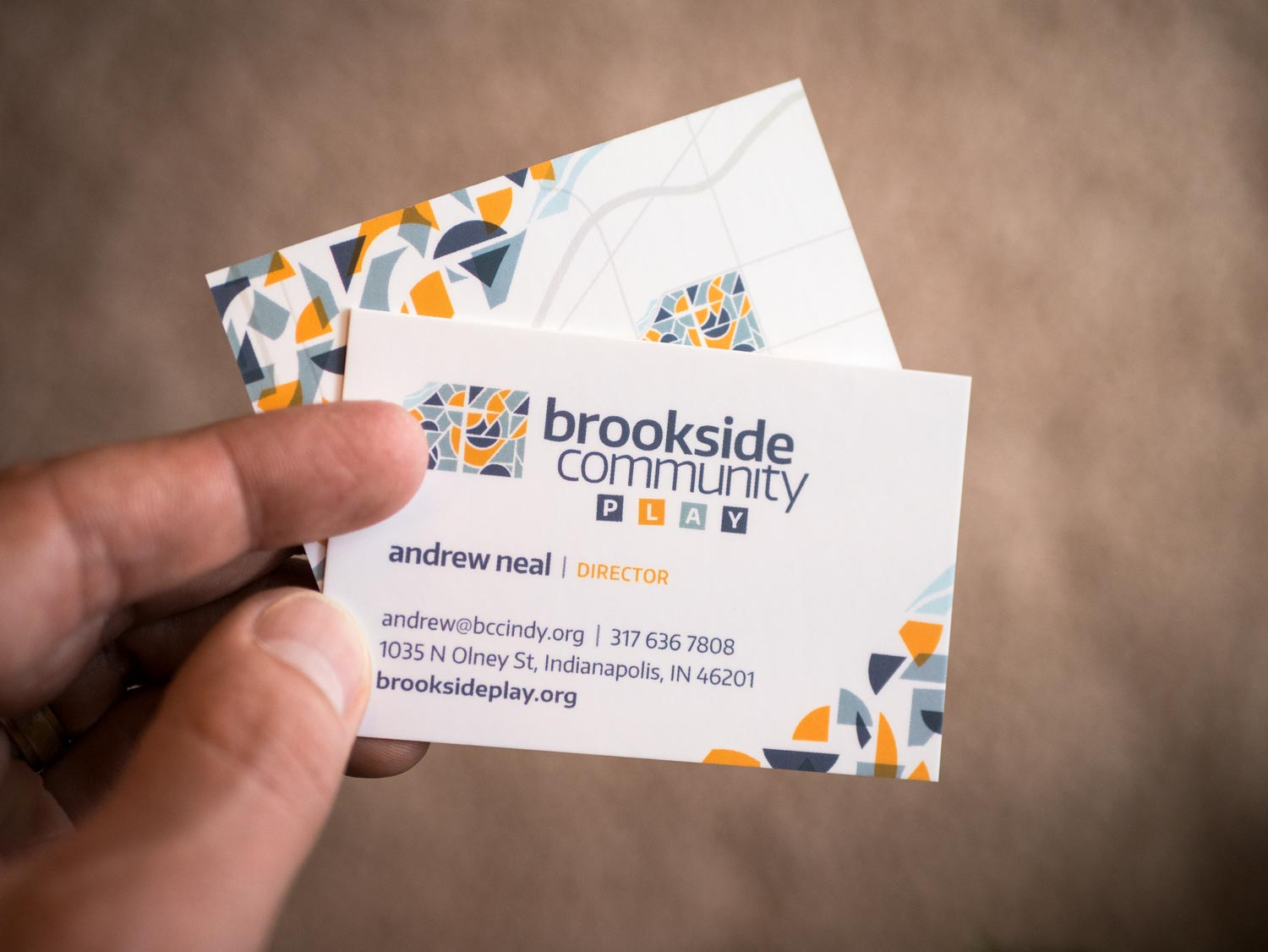Brookside Community Play business cards. Design by Jeff Miller, HellothisisJeff Design