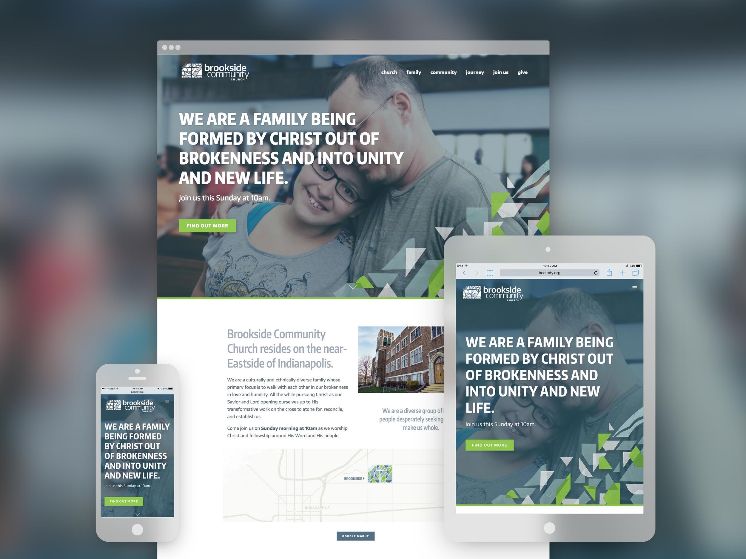 Brookside Community Church responsive website. Design by Jeff Miller, HellothisisJeff Design