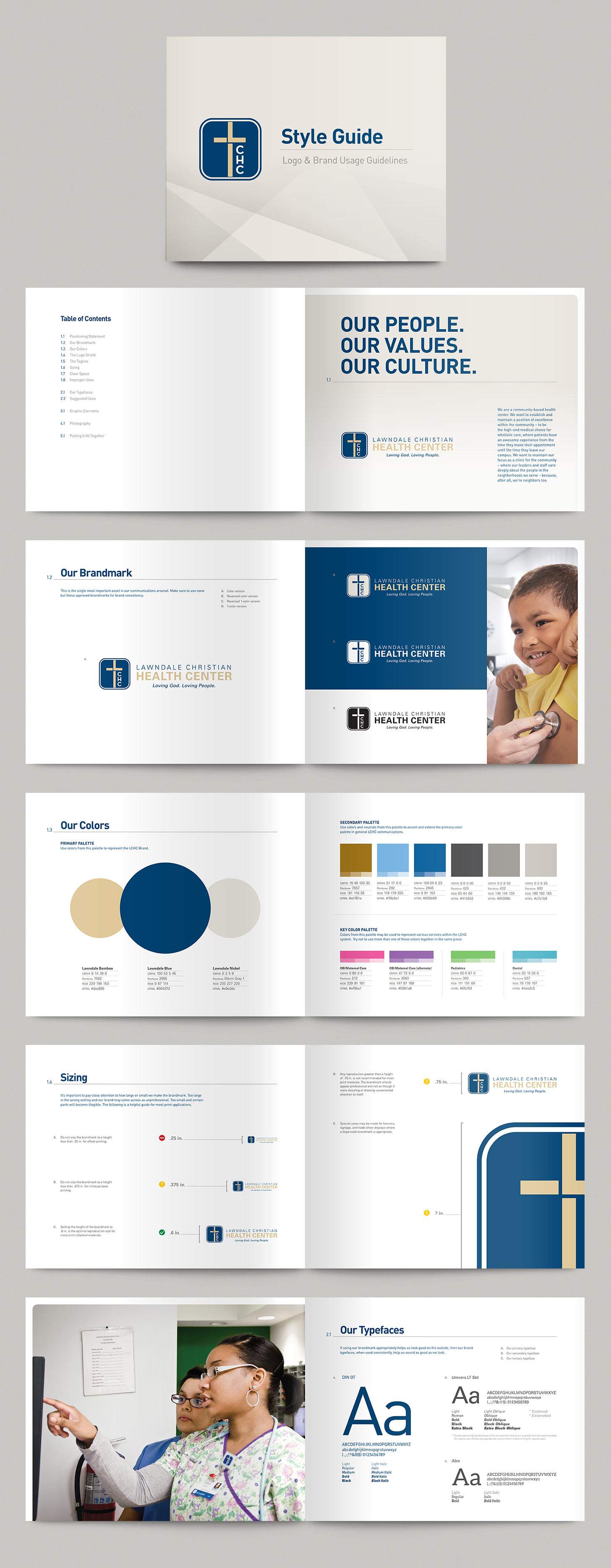 Selected spreads from Lawndale's brand style guides