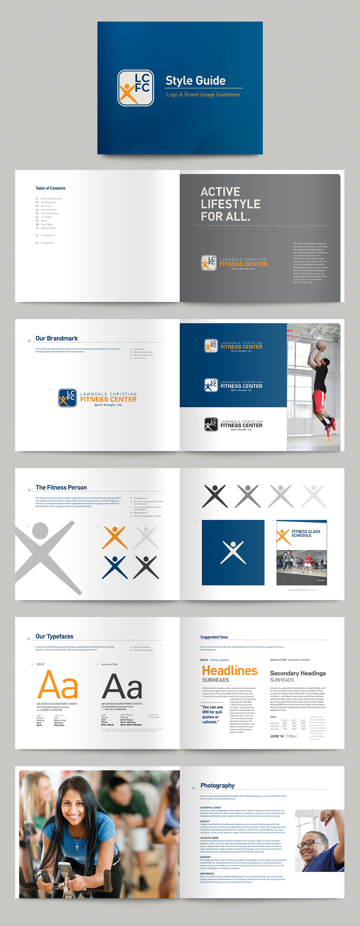 Selected spreads from Lawndale Christian Fitness Center's brand style guide.Image copyright Jeff Miller, HellothisisJeff Design LLC