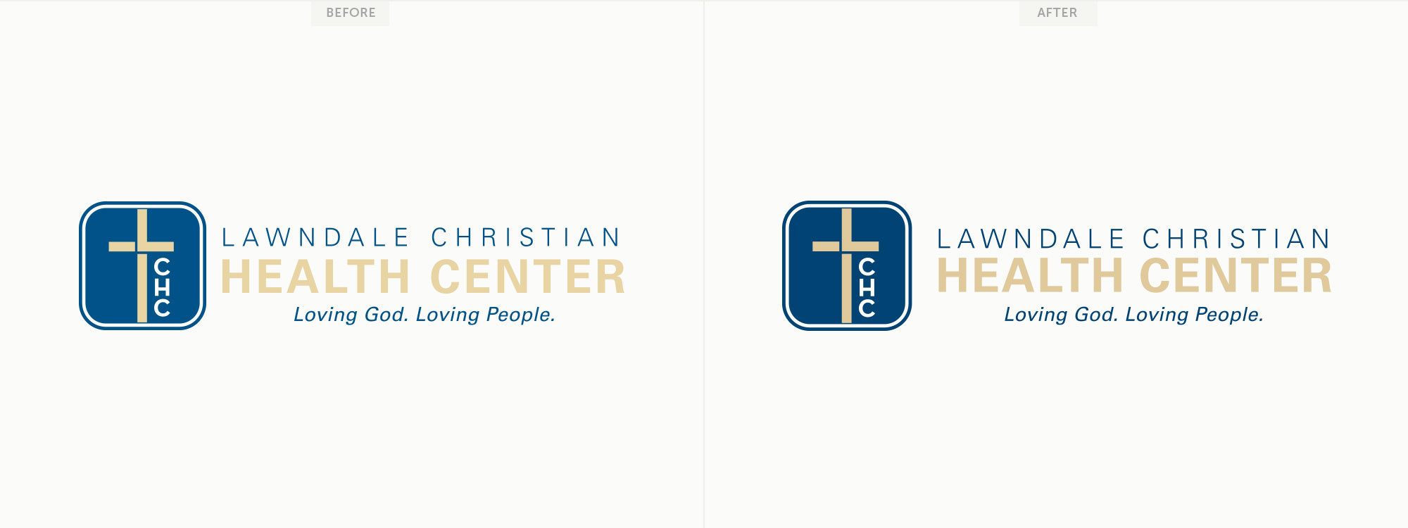 Before and after for Lawndale Christian Health Center's logo.Image copyright Jeff Miller, HellothisisJeff Design LLC