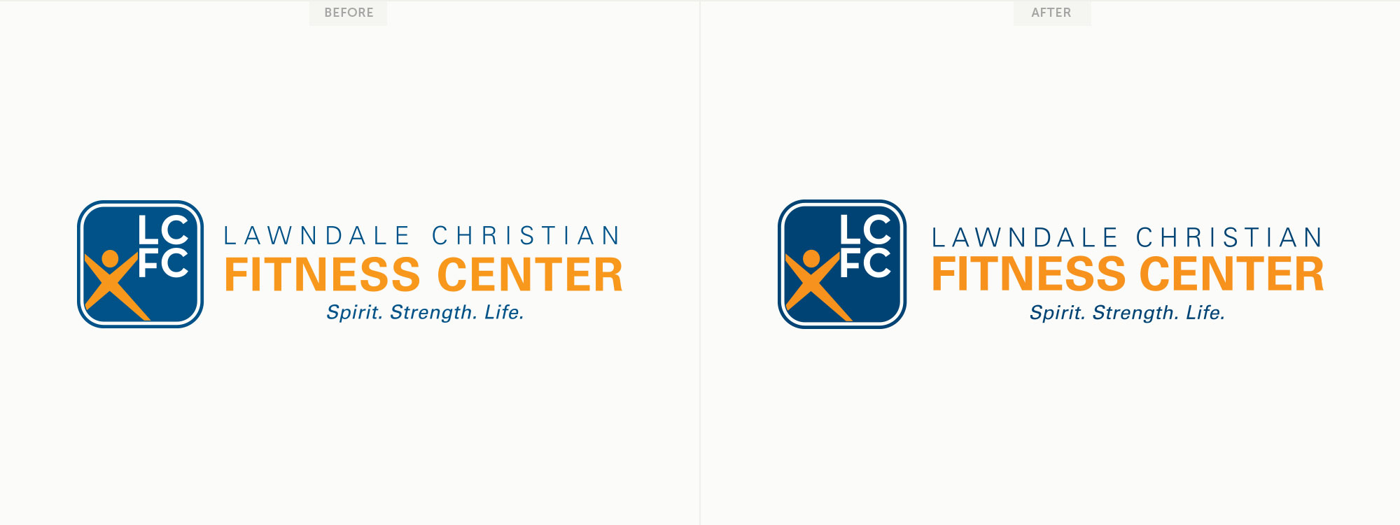 Before and after for Lawndale Christian Fitness Center's logo.Image copyright Jeff Miller, HellothisisJeff Design LLC