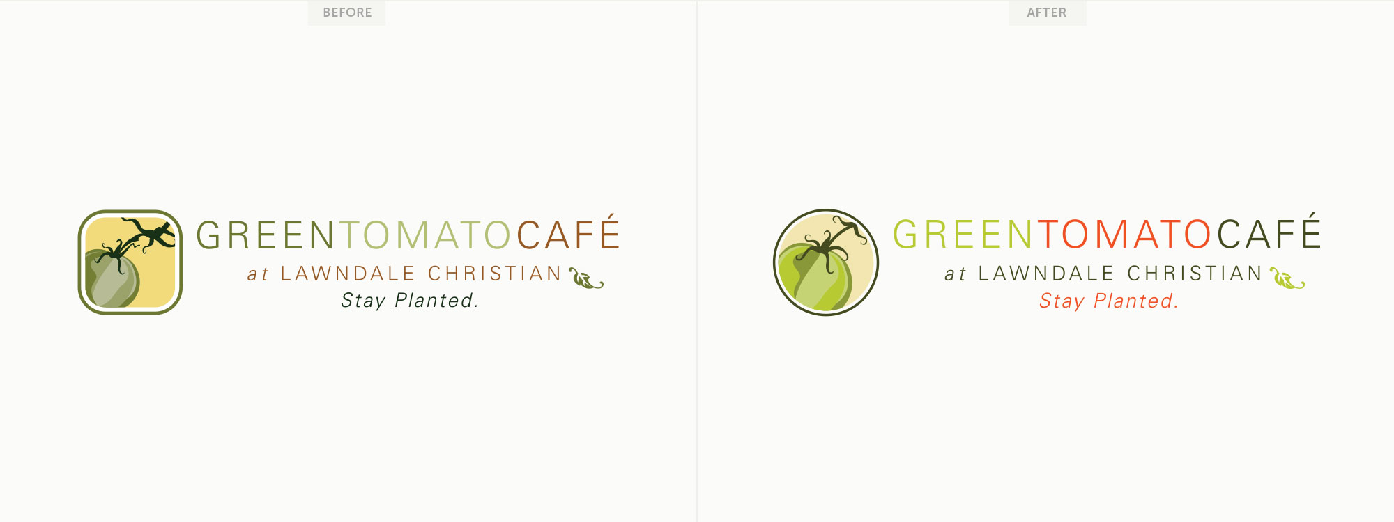 Before and after for Green Tomato Café's logo.Image copyright Jeff Miller, HellothisisJeff Design LLC