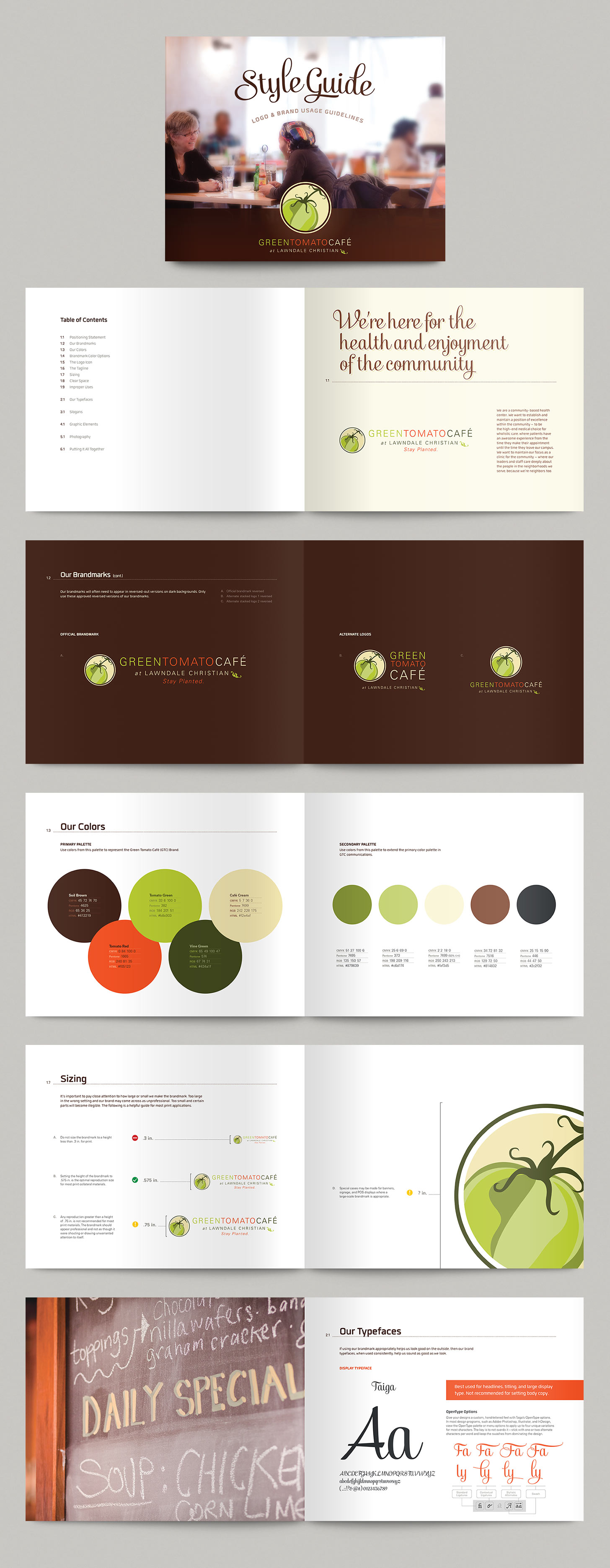 Selected spreads from Green Tomato Café's brand style guide. Image copyright Jeff Miller, HellothisisJeff Design LLC