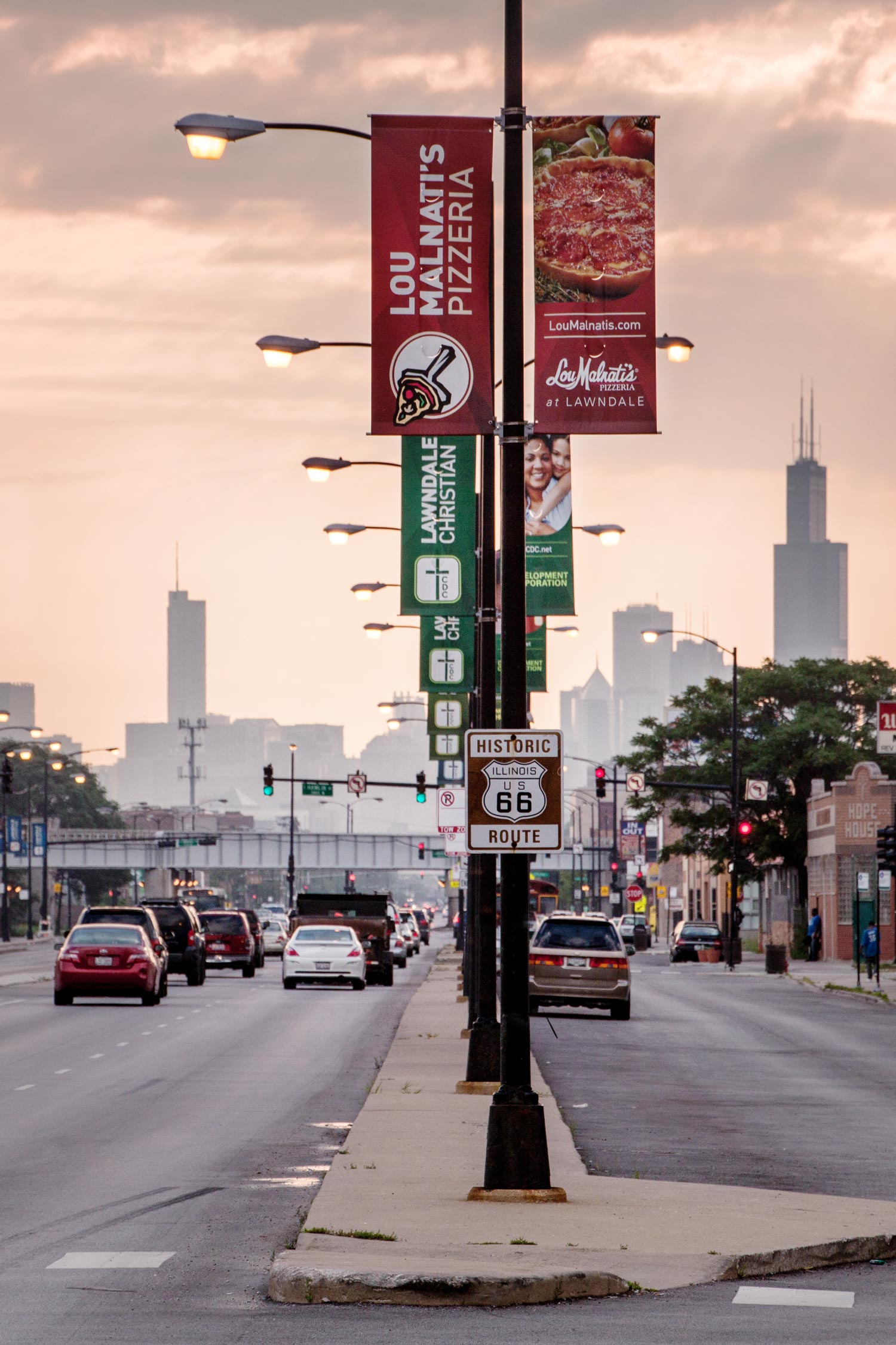 Lawndale Christian street banners looking down Ogden Ave towards the Chicago skyline.Image copyright Jeff Miller, HellothisisJeff Design LLC