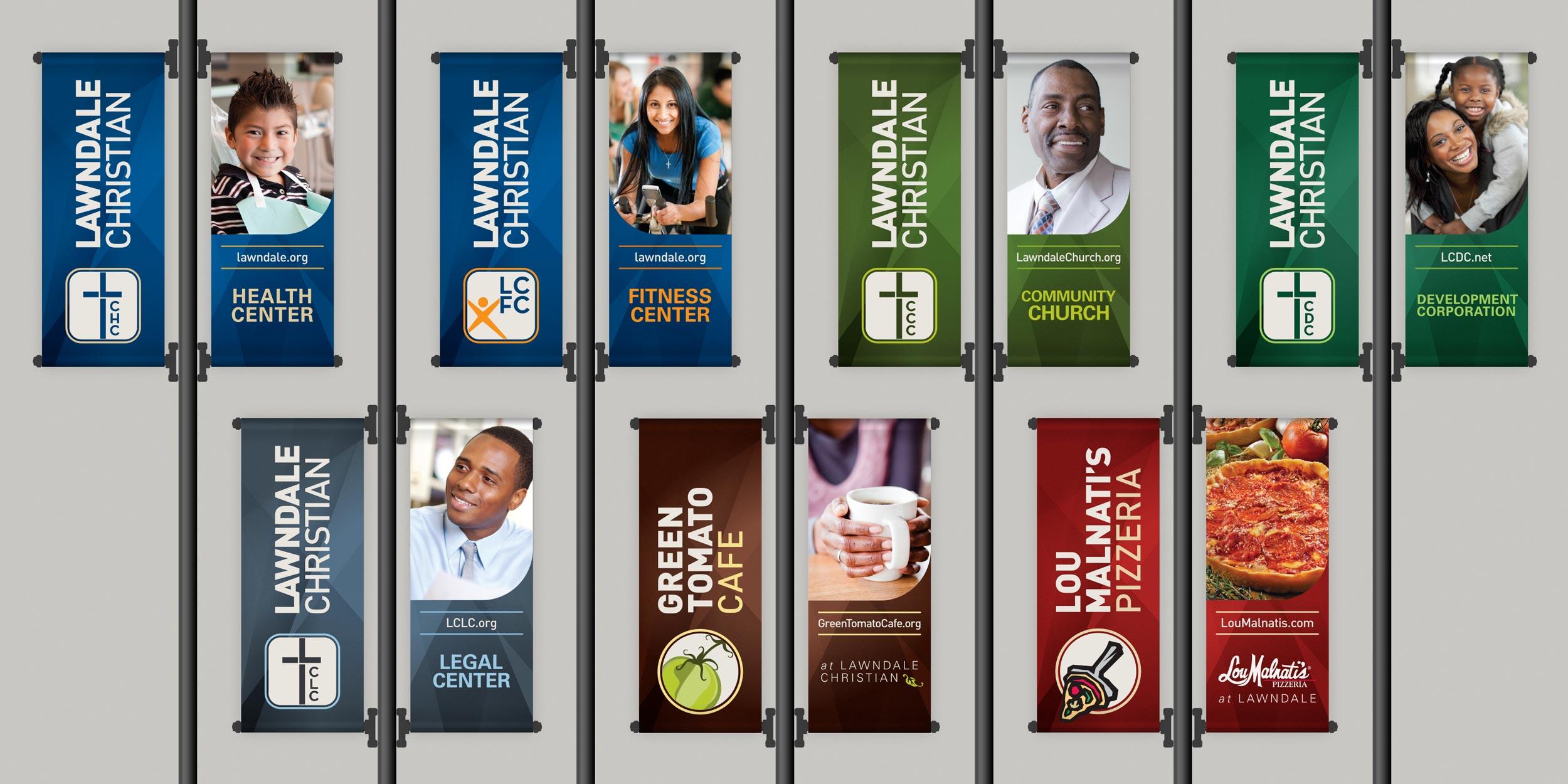 Lawndale Christian street banner designs.Image copyright Jeff Miller, HellothisisJeff Design LLC