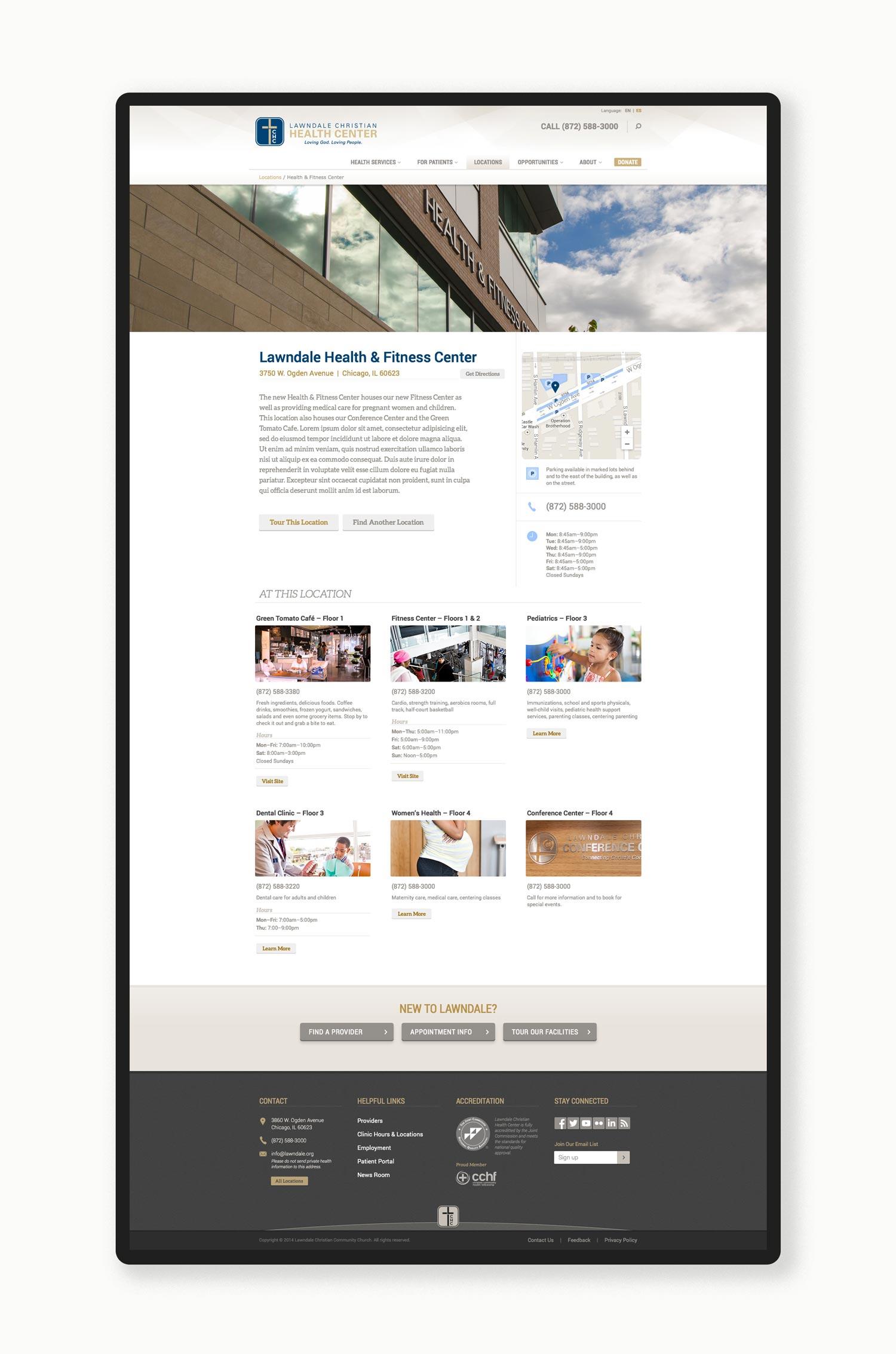 Lawndale Christian Health Center website, interior page. Design by Jeff Miller, HellothisisJeff Design