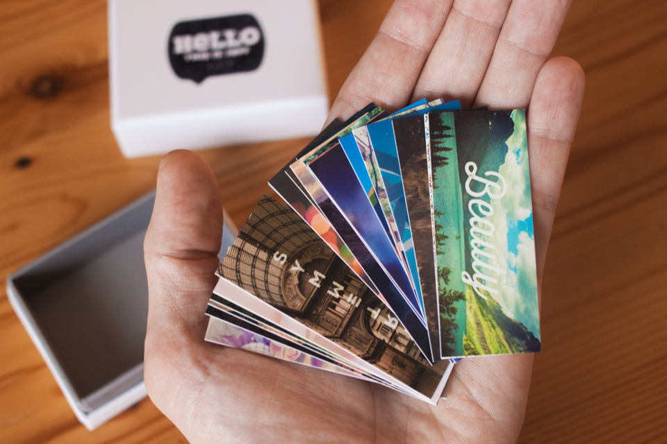 Favorite Things Moo mini cards in hand