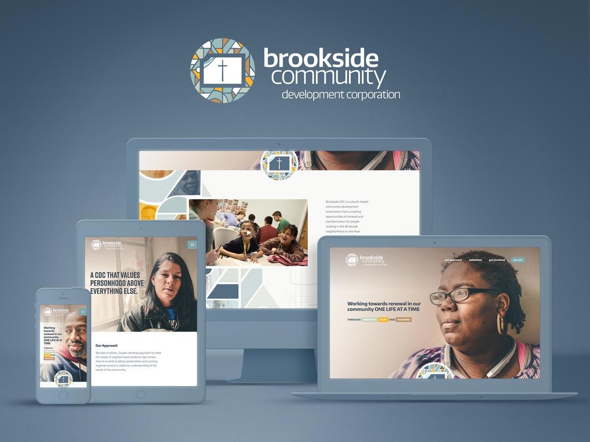 Brookside Community Development Corporation logo and responsive website.Image copyright Jeff Miller, HellothisisJeff Design LLC