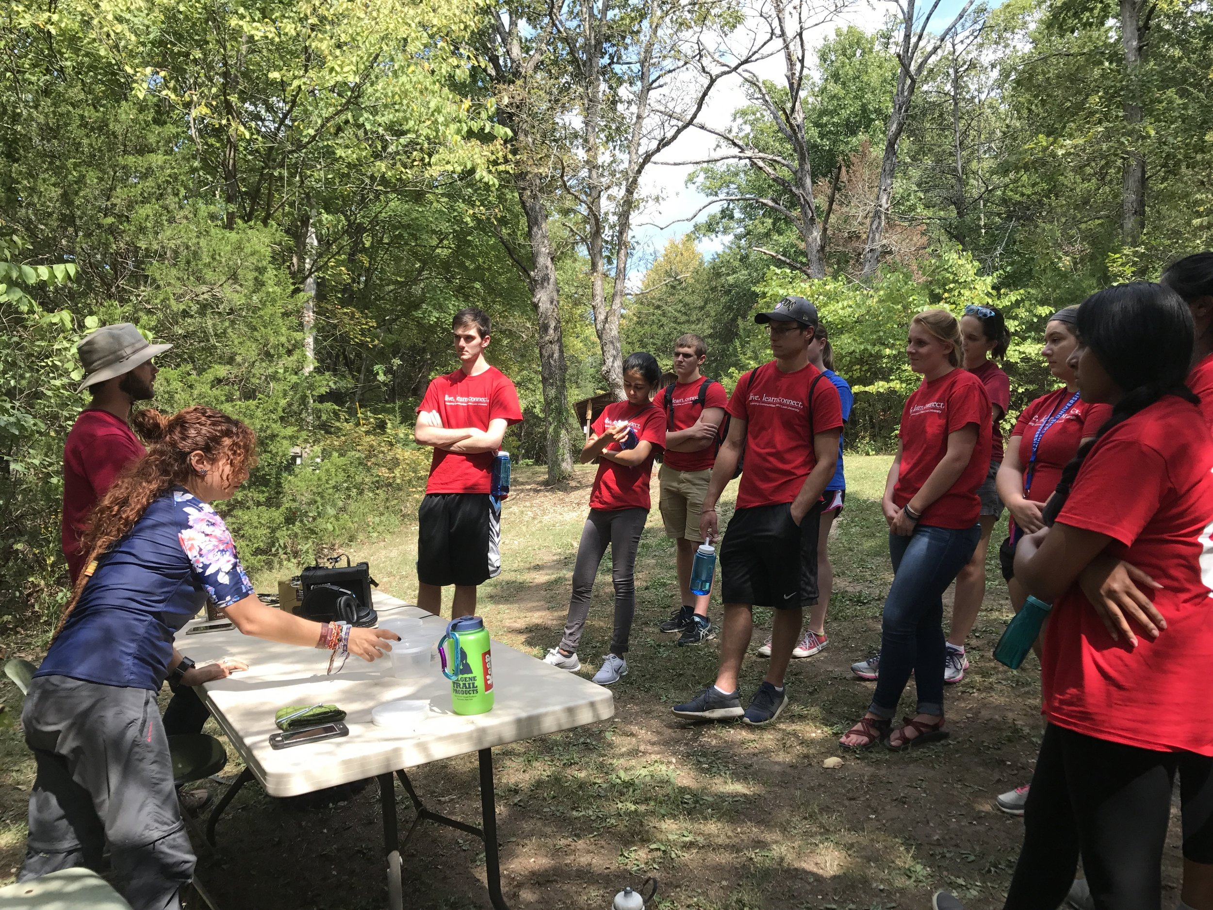 Graduate students William Shoenberger and Leticia Classen Rodriguez provide training to students and citizens participating in our annual BioBlitz in Forest Park; St. Louis, MO. The event teaches citizens to collect data on vertebrate and invertebrate biodiversity in the park.