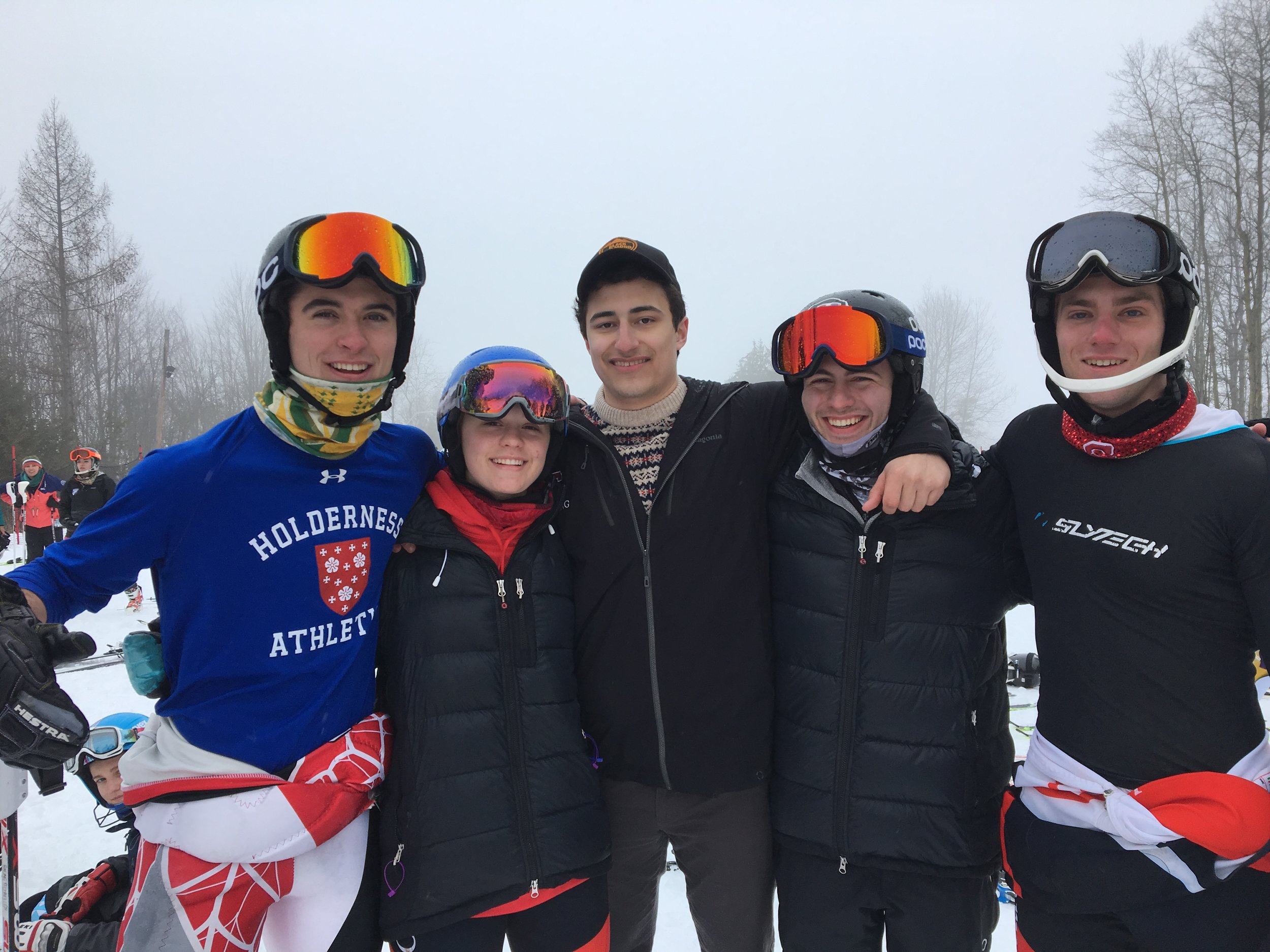 Pictured are: Morgan Dawkins (William and Hobart Smith), Elise Michaels (Cornell), Ryan Skinner (Cornell), Simon Ludl (SUNY Binghamton), and Sean Giannotto (Cornell) at a MidEast Division race at Greek Peak this past weekend.
