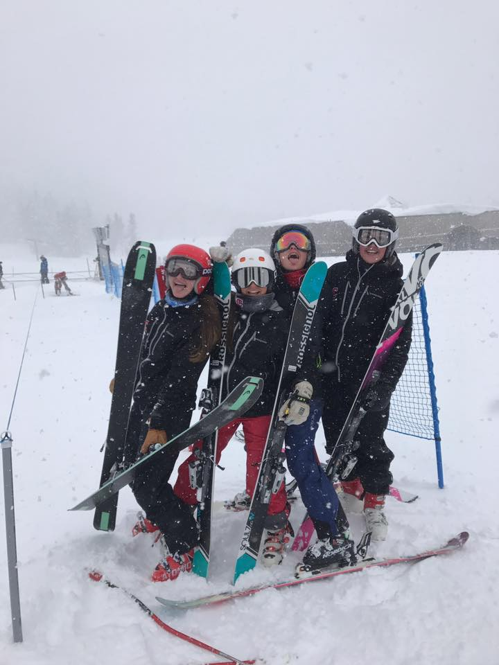 Elise Michaels with some of the Cornell Women's Ski Team