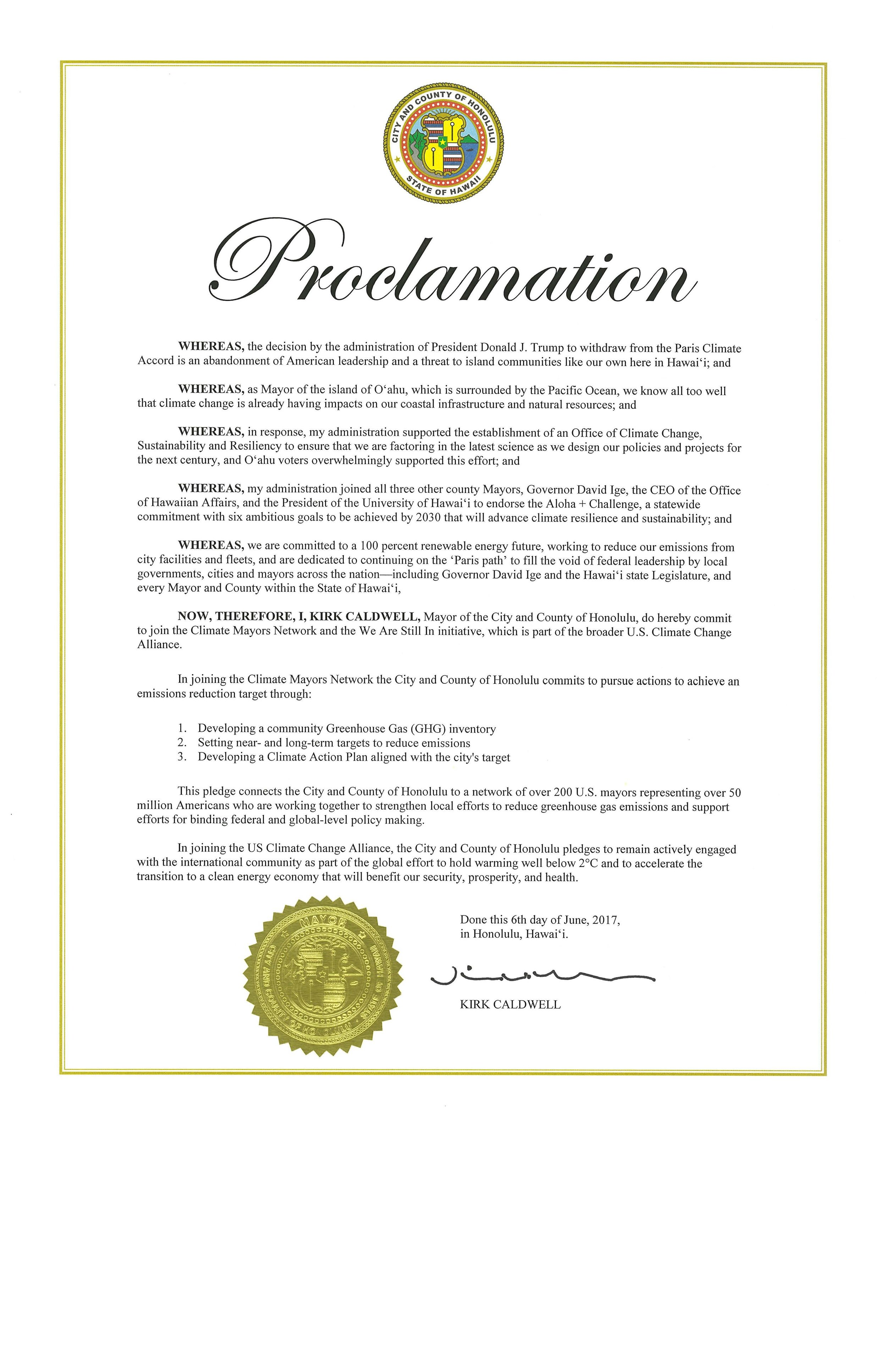 Mayor's Paris Accord Proclamation June 2017.jpg