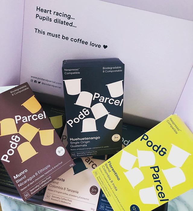When your @podandparcel arrive, it's true what they say, heart racing, pupils dilated.... this must be coffee love 😍 ✔️Roasted in Brunswick, Melbourne. ✔️Biodegradable & compostable :- it only takes 90 days (about half the time of an orange peel 😳) . Let's just say I can't wait to try every single one 😊. #coffee #podandparcel #melbourne #skinsational #caffine #delicious #coffeelover