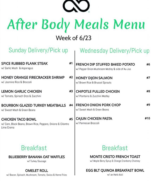 Have you seen the new menu for this week? Visit www.afterbodymeals.com and place your orders! Deadline is Friday by noon for Sunday delivery or pick up and Sunday by noon for Wednesday delivery or pick up 🔥