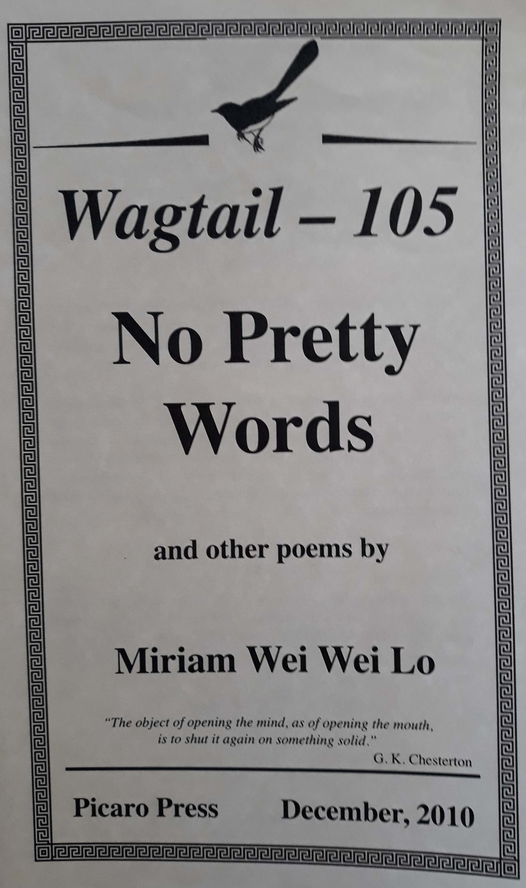 No Pretty Words - To purchase, contact miriamwwlo@gmail.com