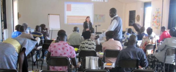 Meg Brindle at Nilotica shea workshop in Gulu, Uganda