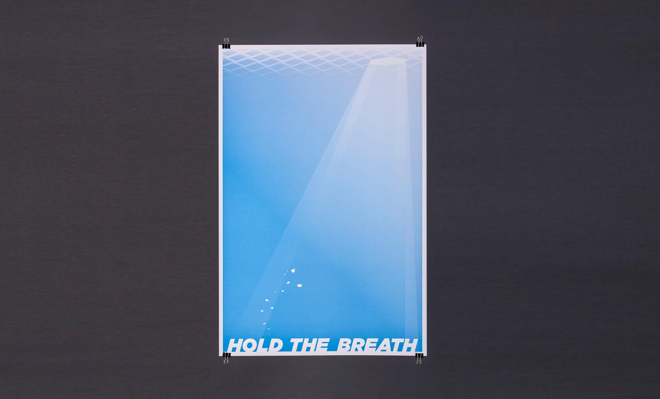 HOLD THE BREATH PRINT - print 製作HOLD THE BREATH 海報的日子,是在我剛離開正職獨立出來創立PNO 的時候,當時我對於未來帶著很多未知。這張海報的場景設定是一種像夢境般的狀態。我希望營造出望著海報的人是以主觀角度去看的感覺,他抬頭看水面的時候看見一線光,但是不確定那線光到底是生機還是另一個危機。我想透過這張海報提醒自己和同樣在疑惑中的人,不用急,先等一等,冷靜看清楚情況才作下一步。