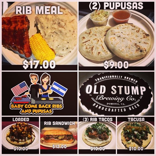 It's Wednesday!!! Come on out to #oldstumpbrewery for some great food and great beer! We will see you guys on the patio this afternoon until closing. #babycomebackribsandpupusas #pupusas #ribs #bbqporn #foodporn #sharesocal #pomona #wednesday #thingstodo #craftbeer #beer #leonardodicaprio #sgv #hungry #epicfood