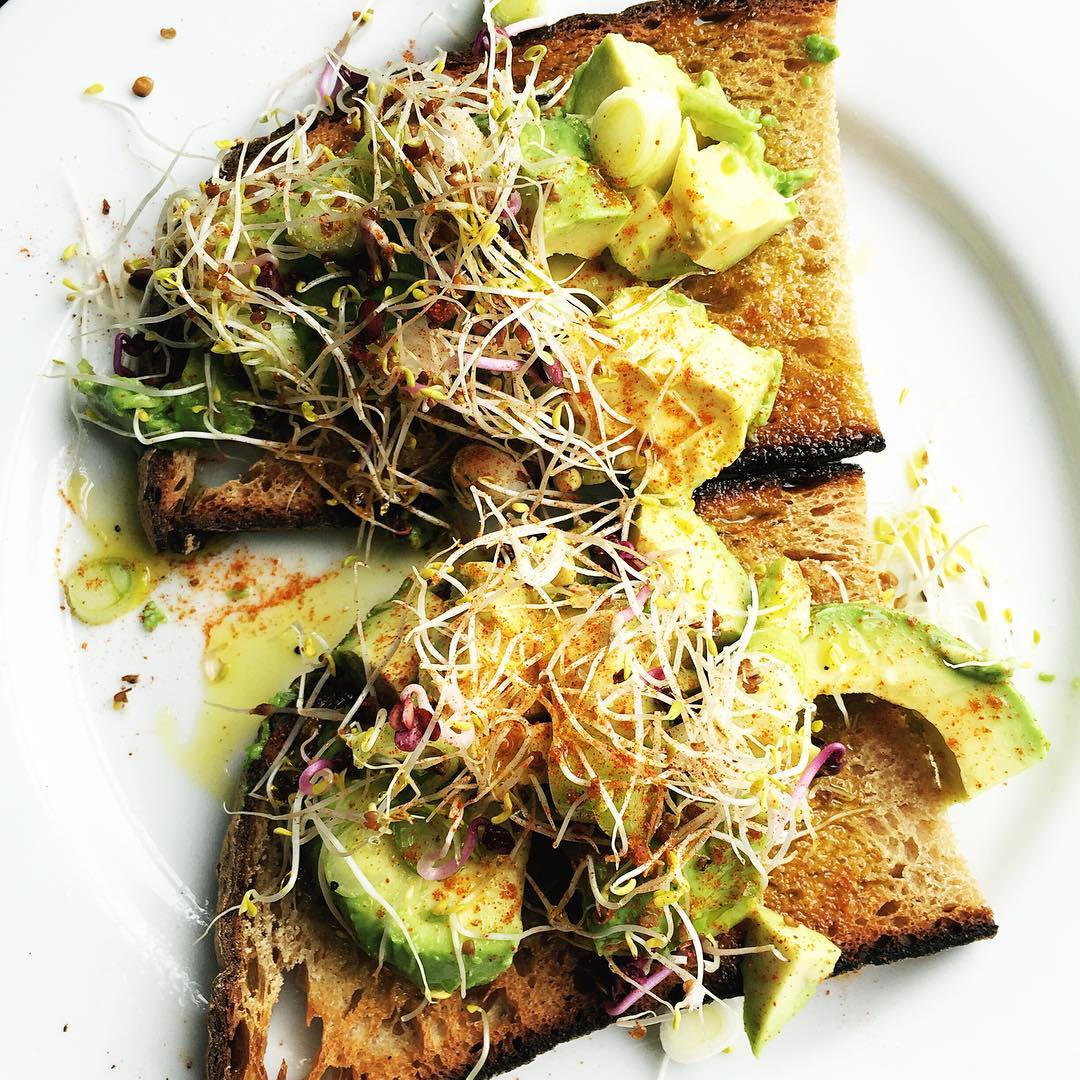 Avo Toast - Avocado may be the food of the moment but for good reason they are a nutrient dense food and a source of healthy monounsaturated fatty acids. The addition of live sprouts, lemon and cayenne give this meal a kick.