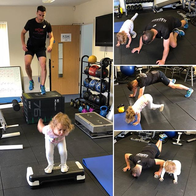 Training with Daddy! Cute! #training #workout #exercise #personaltraining #strength #fitness #plyometrics #core #wholebodyworkout #daddydaycare #trainingwithchildren #privategym #kent #bromley #keston #ksmtherapies