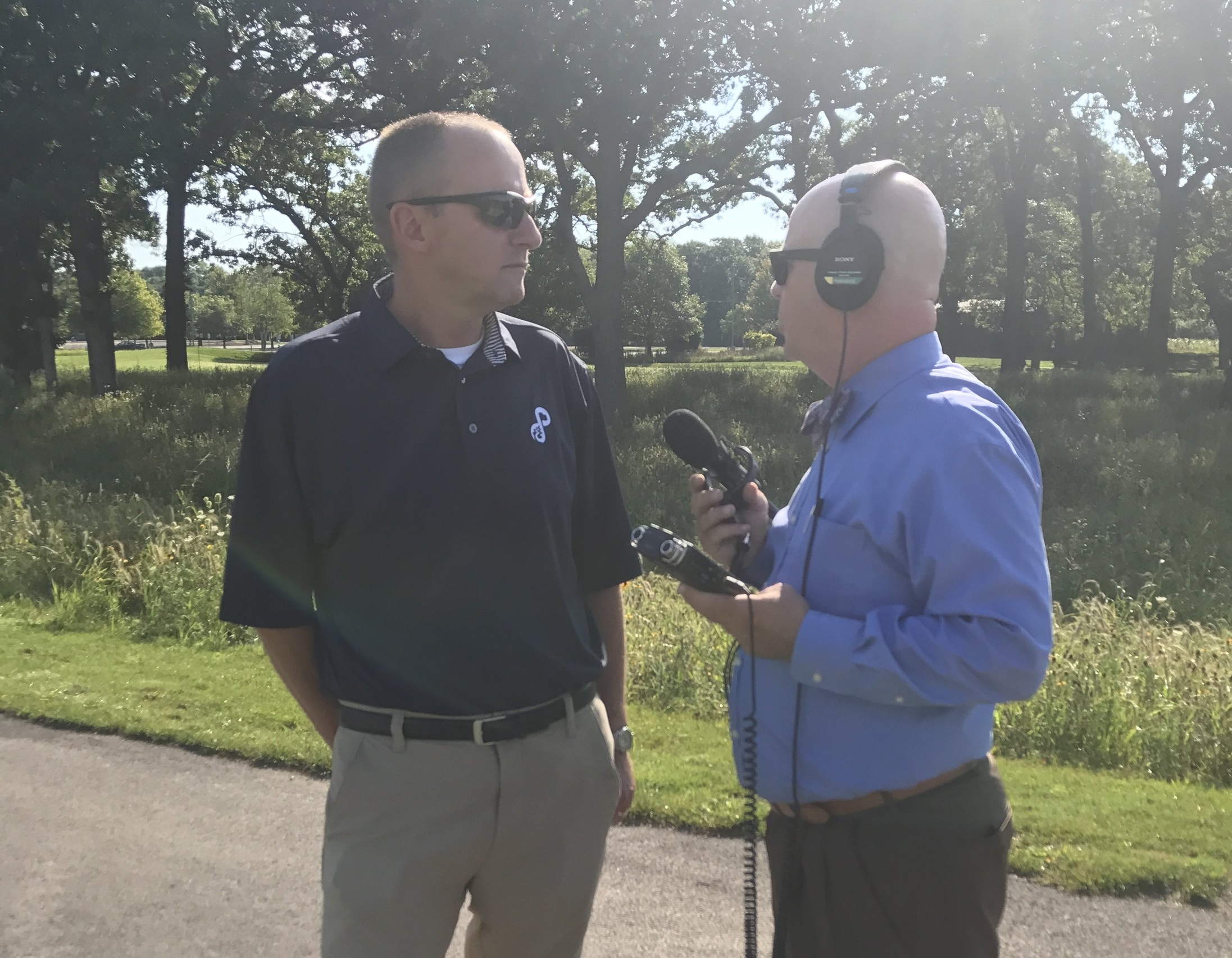 Forest Preserve Executive Director Ed Stevenson discussed Oak Meadows renovation with First Light's Brian O'Keefe
