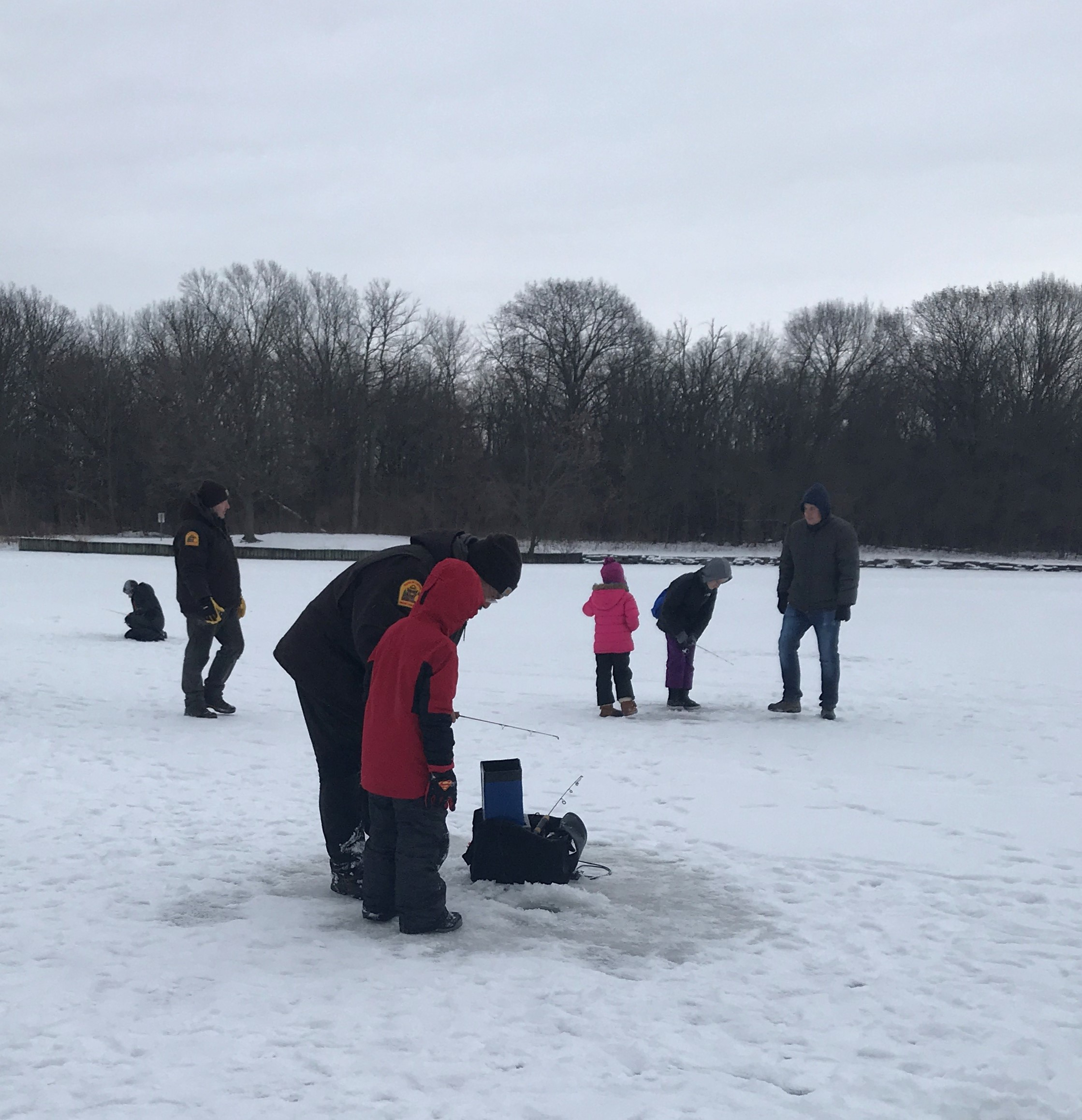 Ice Fishing at Herrick Lake Forest Preserve