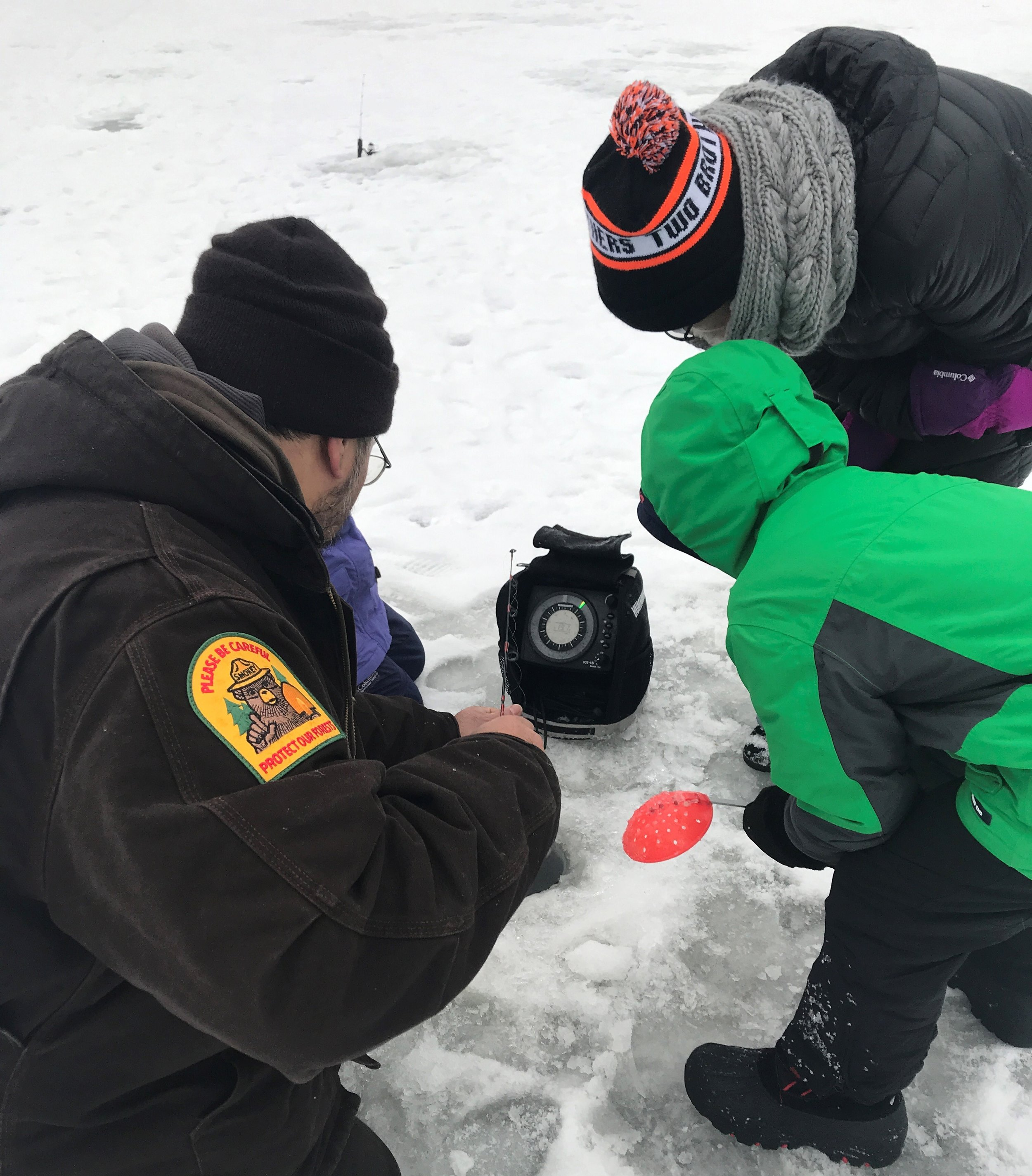 DuPage Forest Preserve Ranger Hahnz Teope used sonar to find fish under the ice
