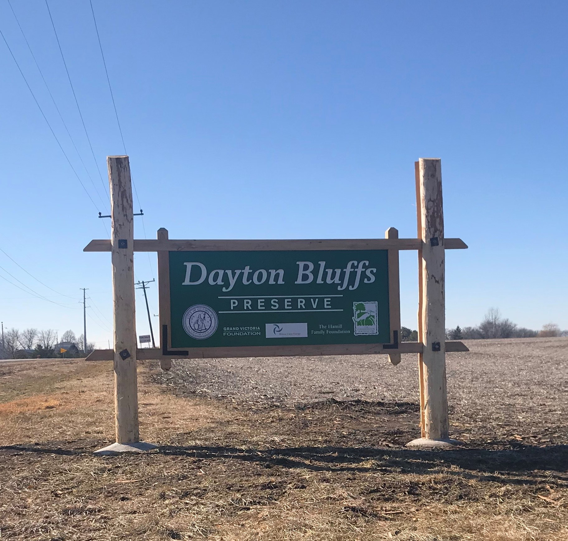 Entrance to Dayton Bluffs Preserve off Hwy 71 in Ottawa